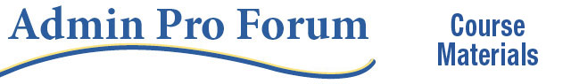Admin Pro Forum Course Materials