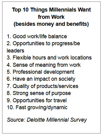 Top 1- things millennials want from work